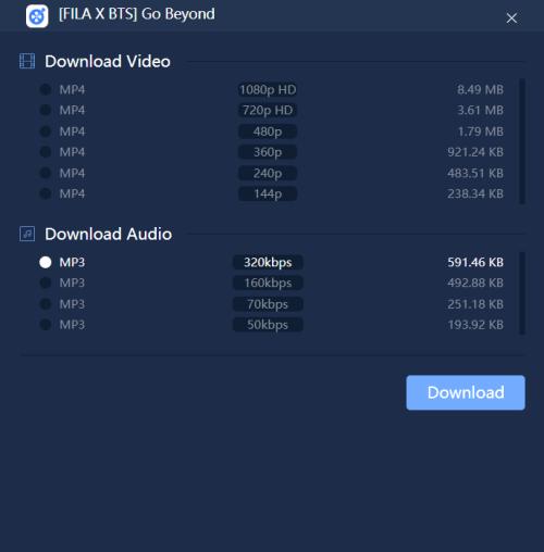 320kbps Audio Option
