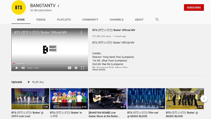 Bangtan TV YouTube Channel