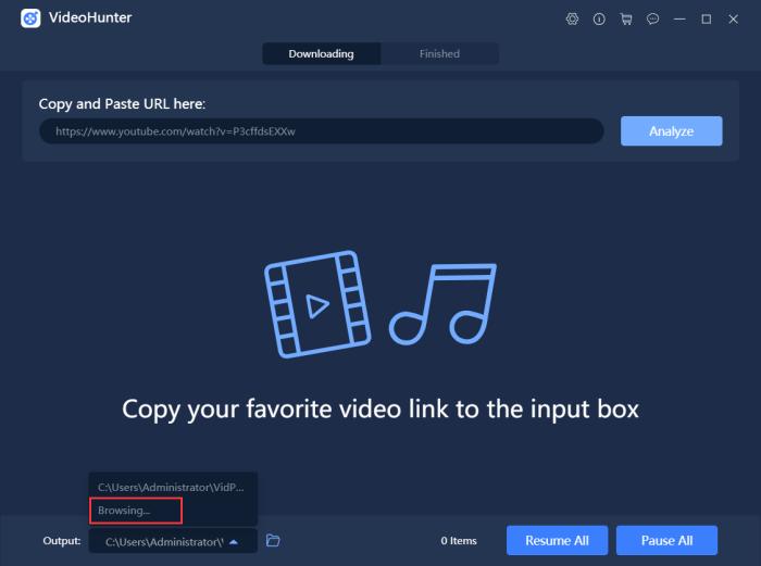 Change Output Folder in VideoHunter