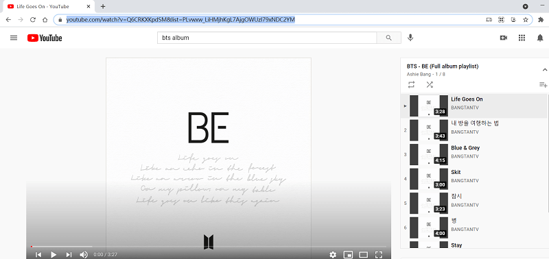 Copy BTS Album Playlist URL