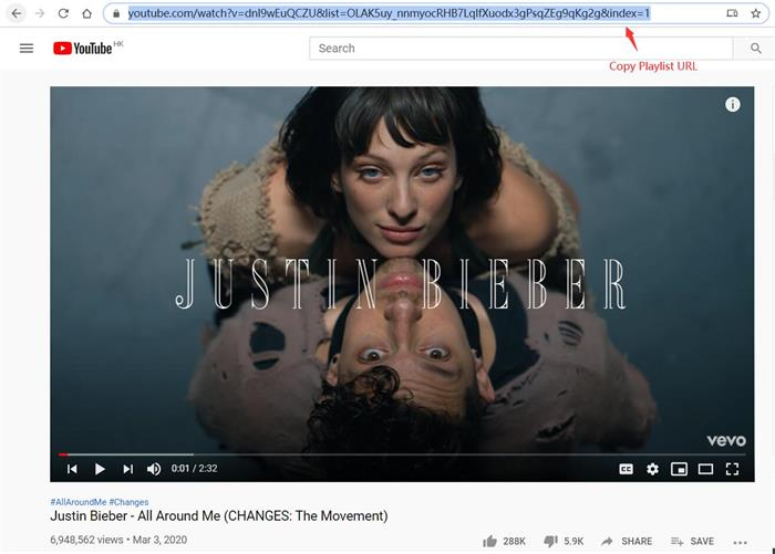 Copy Justin Bieber Playlist URL
