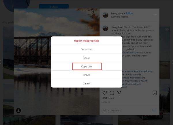 Copy Link of Instagram Video