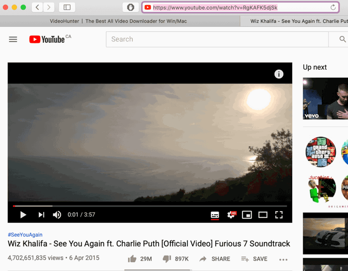 Copy the URL of the Most-viewed Video