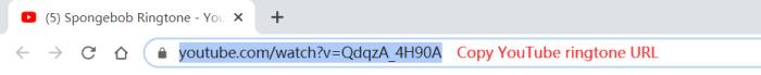 Copy YouTube Ringtone URL