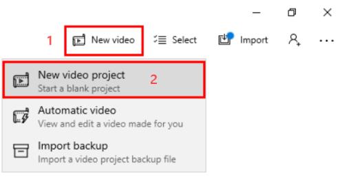 Create New Video Project Windows