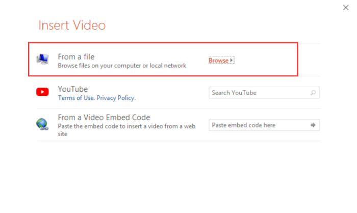 Embed Stored Video in PPT