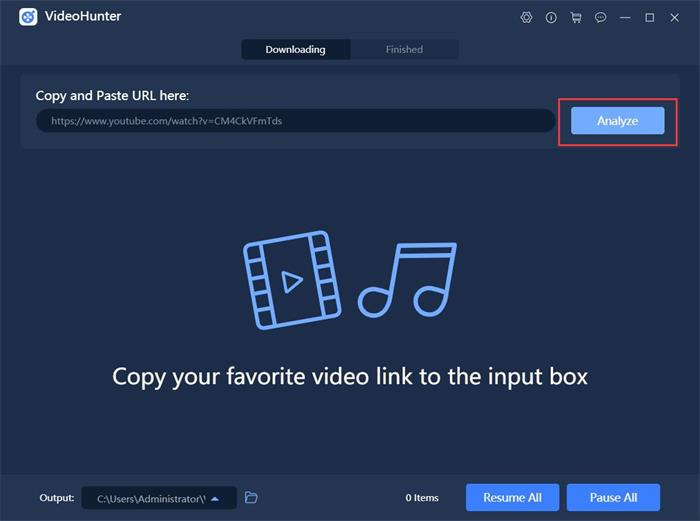 Paste TWICE Song URL to VideoHunter