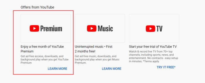 Select YouTube Premium Plan
