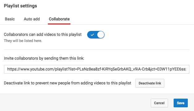 YouTube Collaborate Playlist