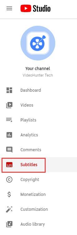 YouTube Studio Subtitles Section